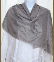 Banaras Silk Gray Color with silver Woven Paisley Design Shawl, Wrap, Stole