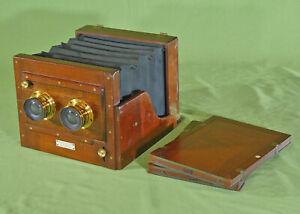 Rare London Stereoscopic Stereo Whole Plate Tailboard Camera Mahogany Brass 1882