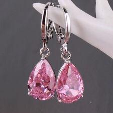 Women's Fashion 925 Sterling Silver Ear Stud Dangle Hoop Party Gamstone Earrings