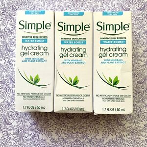 Lot of 3 Simple Water Boost Hydrating Gel Cream Face Moisturizer 1.7 oz