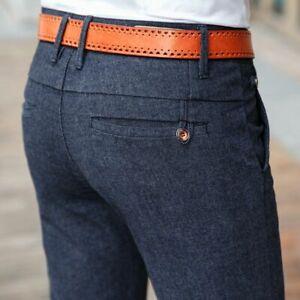 Smart Casual Pants Men's Trouser Business Elastic Regular Fit Broadcloth Clothes