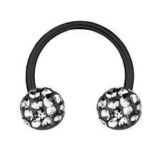 Circular Barbell Horseshoe Black Titanium 1,2, Multi Crystal Ball Black Diamond