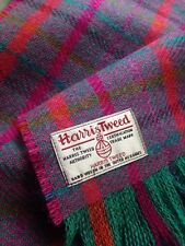 Harris Tweed Sciarpa ARDESIA Viola Rosa Corallo Verde Acqua Magenta Punk LUXURY WOOL