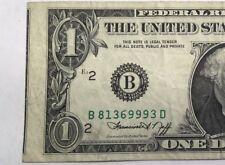 1974 $1 Misaligned Second Printing Error 9993D