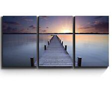 "3 Piece Canvas Print - Meditative calm lake scene with jetty - 16""x24""x3 Panels"