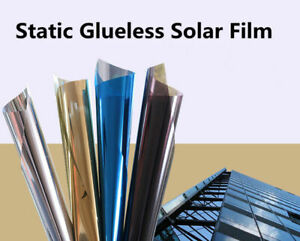 Silver One Way Mirrored Reflective Window Tint Static Cling Solar Film Sticker