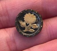 rare silver tone floral Enamel? flower metal vintage antique button #1305B