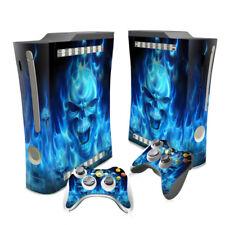 XBOX 360 ORIGINAL Blue Flame Skull  SKIN & 2 PAD SKINS