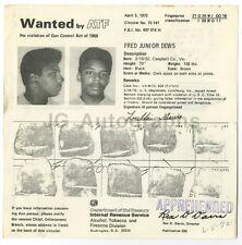 Wanted Mailer - Fred Junior Dews/Gun Control - Washington D.C. 1972