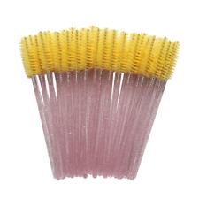 20x Disposable Yellow Eyelash Makeup Brush Crystal Pink Handle Mascara Wands