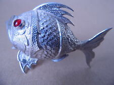 STUNNING ANTIQUE SPANISH SOLID SILVER FISH PEPPER