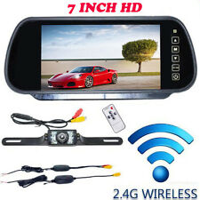 "Wireless Car Rear View IR Night License Plate Backup Camera Kit 7"" LCD Monitor"