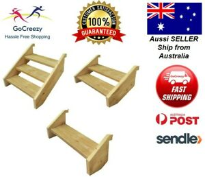 High Quality Pine Wooden Timber Stairs 1,2,3 Step DIY Kit External Outside