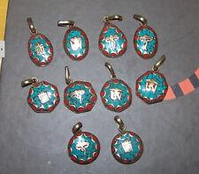 Tibetan Brass Turquoise Red Coral Carved Buddha Eye TearDrop Amulet Pendant