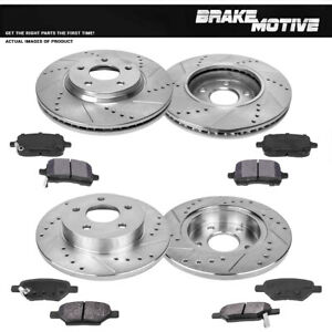 Front+Rear Drill Slot Brake Rotors And Metallic Pads For Chevy Malibu Cobalt G6