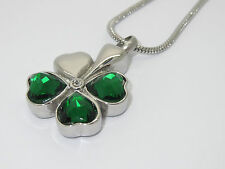 "CREMATION JEWELLERY PENDANT NECKLACE ""FOUR LEAF CLOVER - FAITH,HOPE,LOVE & LUCK"""