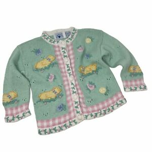Hartstrings Sweater Cardigan Spring Easter Chicks Toddler Kids Cotton Girls 4