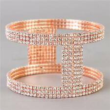 "rose gold crystal cuff bracelet bangle 1.80"" wide bridal prom"