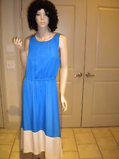 ANN TAYLOR LOFT BLUE HIGH LOW HEM MAXI SLEEVELESS CUTE CASUAL DRESS 6