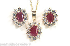 9ct Gold Ruby Cluster Pendant and earring Set gift boxed