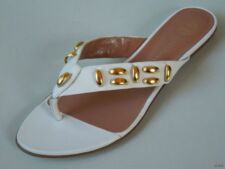 new $595 LES TROPEZIENNES white STUDDED leather flip flops flats thongs shoes 6