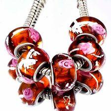 5pcs Brown Murano Glass Pink Flower Lampwork Bead Fit European Charm Bracelets