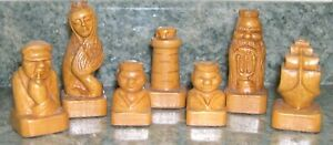 ANTIQUE HAND CARVED CHESS SET FROM THE IMPORTANT JOHN HARBESON COLLECTION; C1900