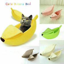 Banana Cat Bed House Cute Cozy Cat Mat Beds Warm Durable Portable Pet Basket PW