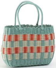 Retro woven shopping basket 1940s & 1950s vintage style aqua shopper bag
