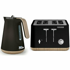 Morphy Richards Scandi Black/Wood Trim Base 4 Slice Toaster w/ Cordless Kettle
