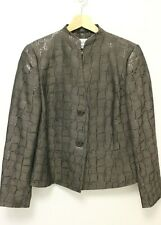 MAX MARA Women's Wool Blend 2-Button Reflective Kimono Jacket - Brown - US 12