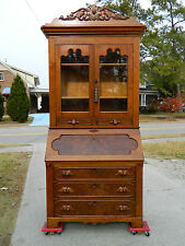 Walnut Victorian Slant Front Secretary Desk with Bookcase Top c 1865