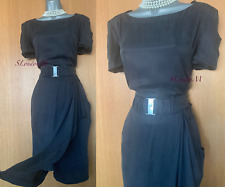 Karen Millen UK 16 Grey Cupro Frill Detail Belted Any Occasion Knee Length Dress