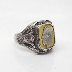 K.FABERGE Russian Imperial 88 Silver Enamel Ring Nicholas II