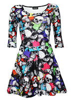 New Ladies Multi Skulls Butterflies Abstract Print 3/4 Sleeve Skater Dress Goth