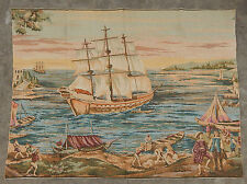 Vintage French Ship on Beach Scene Wall hanging 96X128cm A96