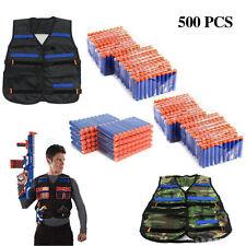 500x Bullets Darts+2 Tactical Vest Jacket for NERF N-Strike Elite Pistol Gun Toy