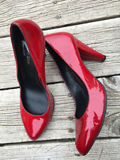 Gianni Bini Amber Red Patent Leather High Heels Pointed Toe Shoes Size 9 Women's
