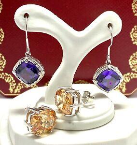 925 Sterling Silver Amethyst & Golden Topaz Lot of 2 pair of Earrings