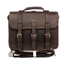 "JMD Crazy Horse Leather Men's Business Laptop Tote Bag Briefcase Backpack 16.5"""