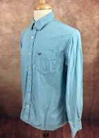American Eagle Outfitters Vintage Fit Turquoise White Stripe Shirt Men's L