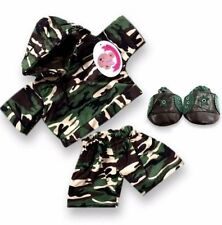 Teddy Bear Clothes fits Build Bears Teddies Army Hooded Outfit FREE Pop-on Shoes