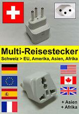 Multi - Reiseadapter / Reisestecker / Steckdose Adapter für Schweiz in schwarz