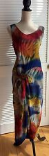 Tropical Print /Died color Sleeveless Ankle Length Dress Made In Italy Vintage M