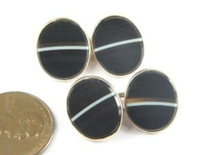 ANTIQUE VICTORIAN ENGLISH 9K GOLD BANDED AGATE CUFFLINKS c1880