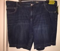 "LEE ""ZULA"" Women's Plus Size Made-To-Fit Denim Bermuda Shorts Size 24W MED NWT"