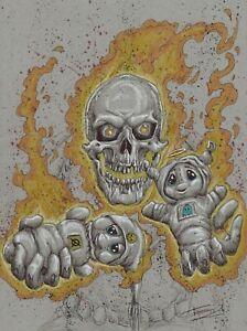 INKTaiber original ballpoint pen sketch by Tai - Day 24 Ghost Rider