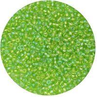 Czech Glass Seed Beads Size 11/0 Transparent Green Iris