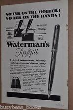 1933 Waterman's Fountain Pen advertisement, WATERMAN Tip-Fill pen