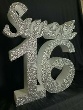 Sweet 16 Sixteen - Birthday Decoration - 60cm tall - Glittered Silver